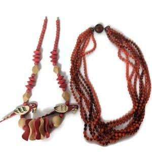 Wooden parrot necklace and vintage beads